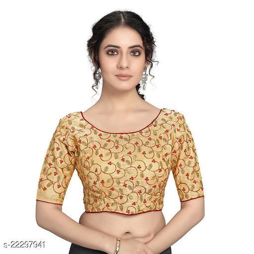 Manaitri Women's Banglori Satin Embroidered Stitched Readymade Blouse