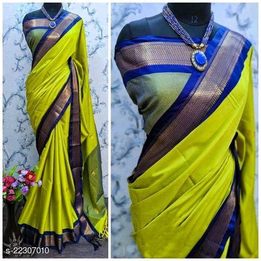 KMH Traditional Paithani Silk Sarees With Contrast Blouse Piece (Lemon & Navy)