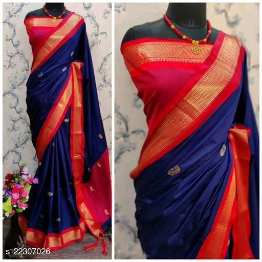 KMH Traditional Paithani Silk Sarees With Contrast Blouse Piece (Navy & Red)