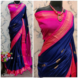 KMH Traditional Paithani Silk Sarees With Contrast Blouse Piece (Navy & Pink)