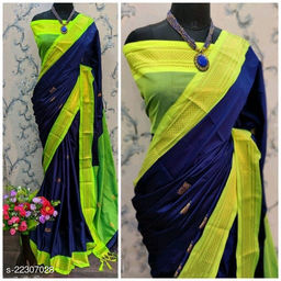 KMH Traditional Paithani Silk Sarees With Contrast Blouse Piece (Navy & Neon)