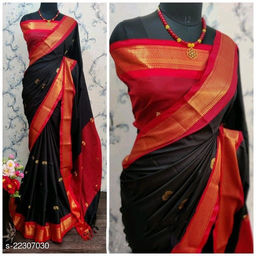 KMH Traditional Paithani Silk Sarees With Contrast Blouse Piece (Black & Red)