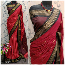 KMH Traditional Paithani Silk Sarees With Contrast Blouse Piece  (Red & Black)