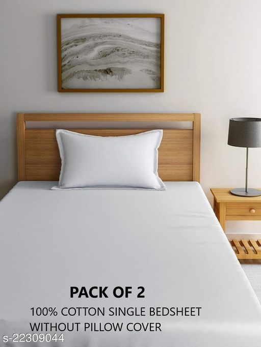 HOME 210 TC Cotton Single Solid Bedsheet  (Pack of 2, White)