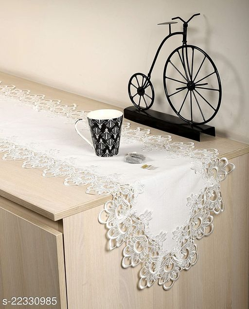Plain Lace Cutwork Design Dining Table Runner(Size-70x15 Inches.)White Color