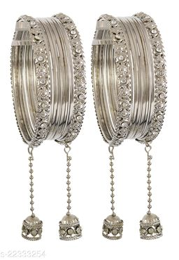 NMII Metal and Zircon Gemstone Latkkan Bangle Set for Women/Girls, (Silver)