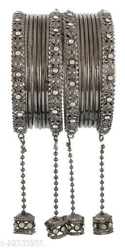 NMII Metal and Zircon Gemstone Latkkan Bangle Set for Women/Girls, (Grey)