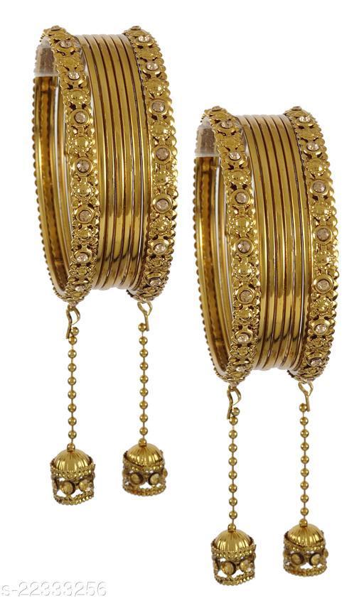 NMII Metal and Zircon Gemstone Latkkan Bangle Set for Women/Girls, (Golden)
