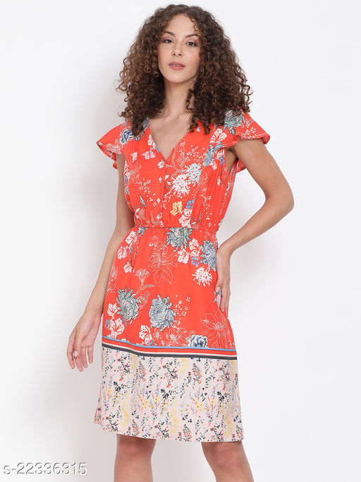 Orange Floral Border Print Sheath Dress