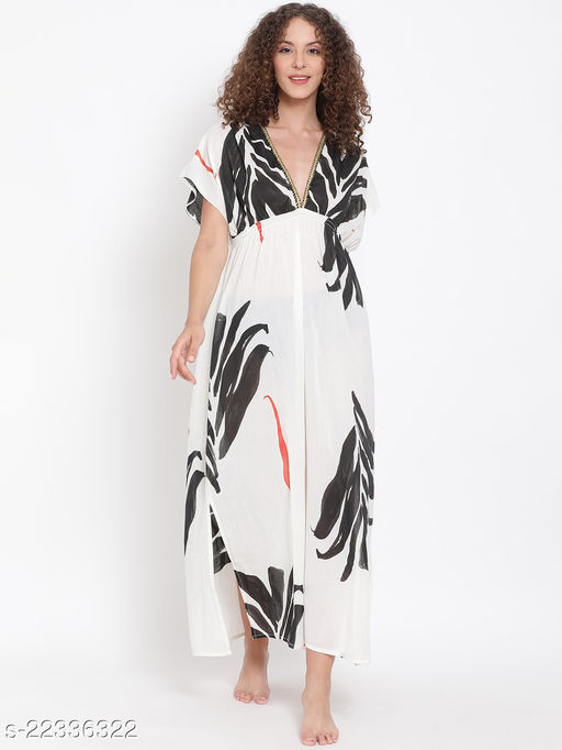 Abstract Print Maxi Beachwear Dress