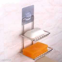 Wall Mounted Double Layer Soap Dish Holder Wall Hanging Soap Storage Rack For Kitchen Bathroom With Self Adhesive Sticker (Silver)