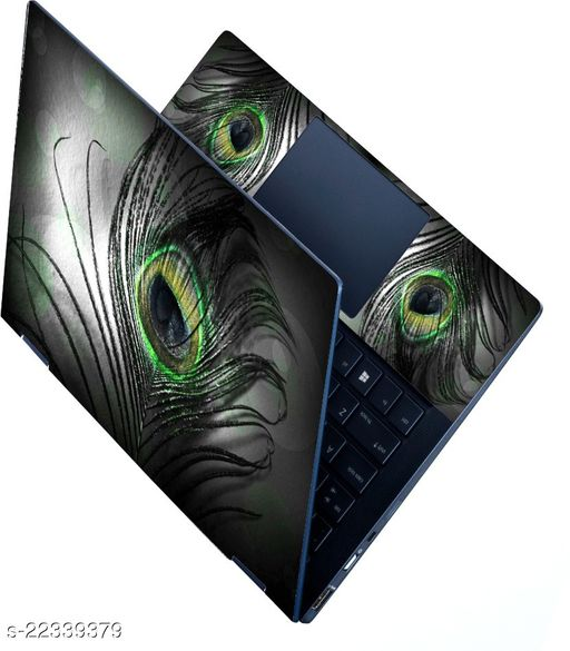 HD Printed Full Panel Laptop Skin Sticker Vinyl Fits Size Upto 15.6 inches No Residue, Bubble Free - Black Feather