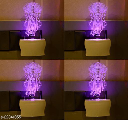 Afast 3D Illusion Lord Vishnu LED Plug & Play Wall Lamp , (Pack Of 4)