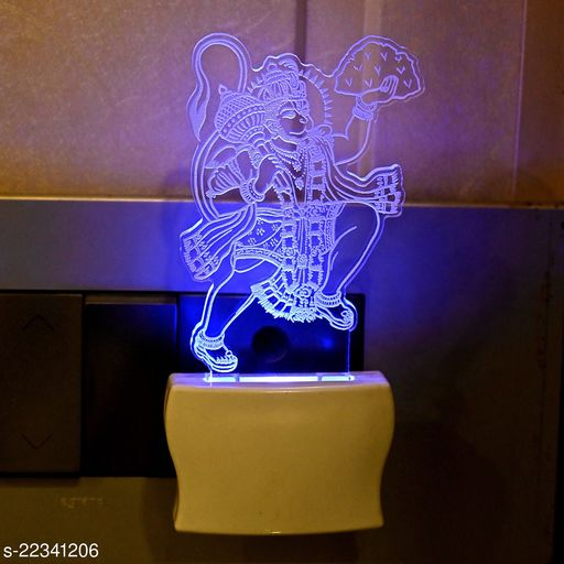 Afast 3D Illusion Snakatmochan Hanuman LED Plug & Play Wall Lamp