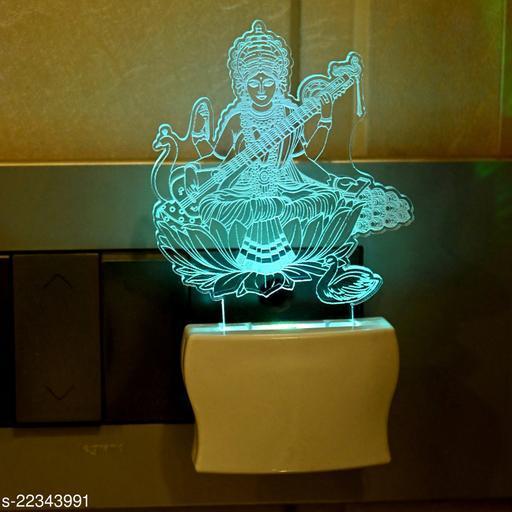 Afast 3D Illusion Goddess Saraswati LED Plug & Play Wall Lamp