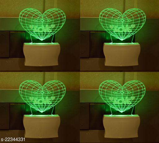 Afast 3D Illusion LED Plug & Play Wall Lamp , (Pack Of 4)