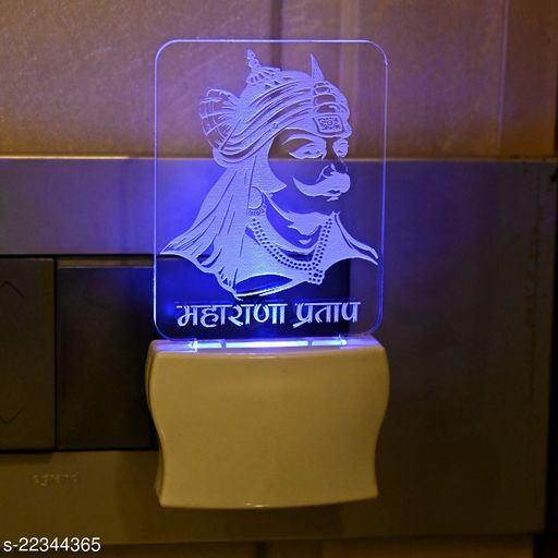 Afast 3D Illusion Maharana Pratap LED Plug & Play Wall Lamp