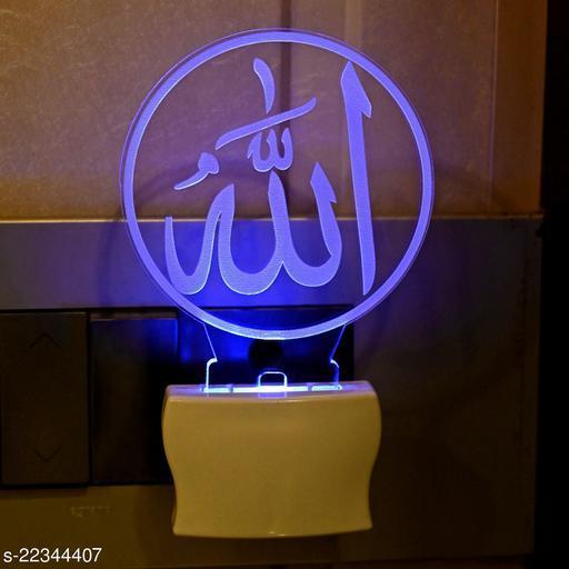 Afast 3D Illusion Symbol Of Allah LED Plug & Play Wall Lamp