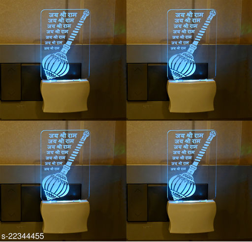 Afast 3D Illusion Ramrod With Name Jai Shree Ram LED Plug & Play Wall Lamp , (Pack Of 4)