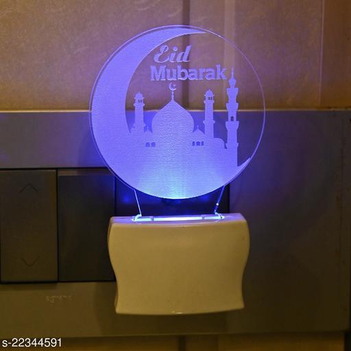 Afast 3D Illusion Eid Mubarak With Taj LED Plug & Play Wall Lamp