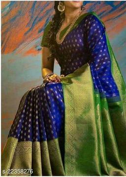 Soft And Smooth Golden Zari Satin Saree