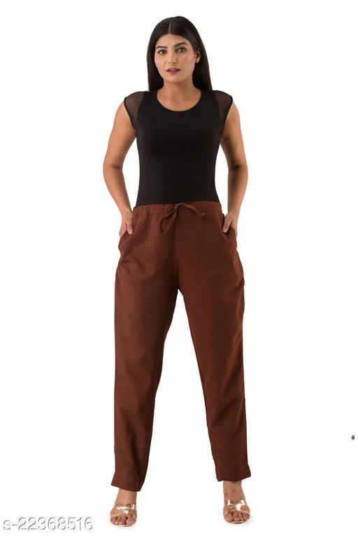 HNV STYLE PANT For Women | Pant With Pocket For Girls | Free Size Slim Fit | Brown