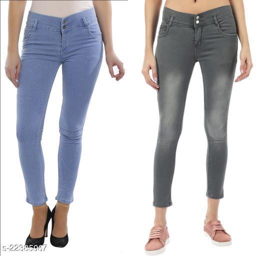 Women Skinny Fit Fancy Jeans (Pack of 2)