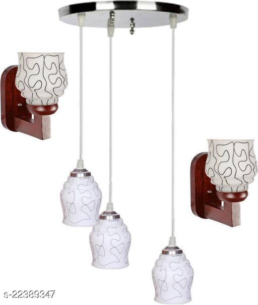 Afast Pandent Three Hanging Ceiling Lamp Combo With Two Matching Wall Lamp Of Colorful & Decorative Glass Shade