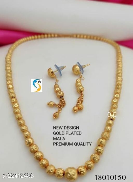 New design gold plated chain mala with earring.