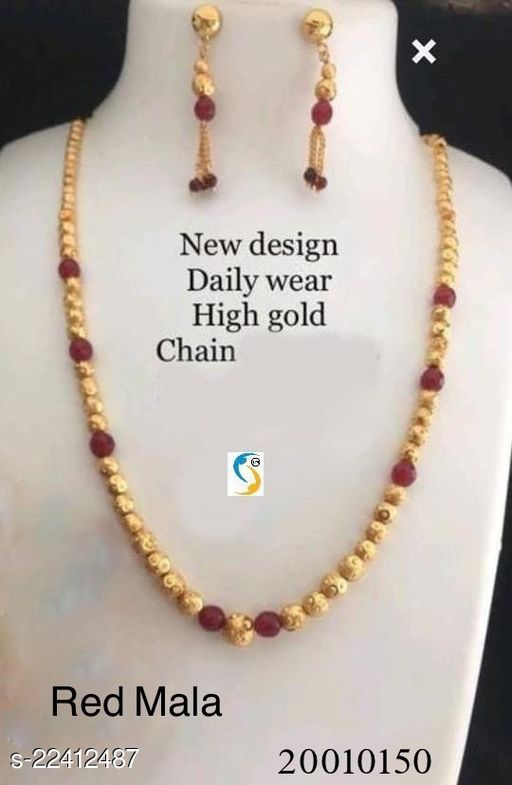 New design gold plated red stone designer chain mala with earring.