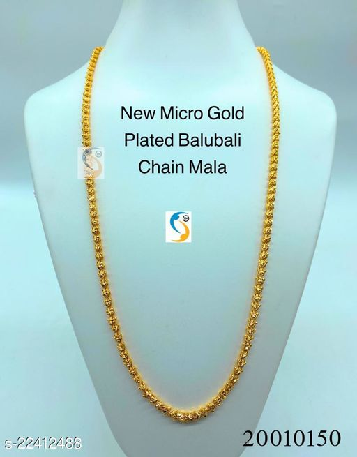 Super quality and long lasting chain. • Daily wear ethnic gold plated designer chain.