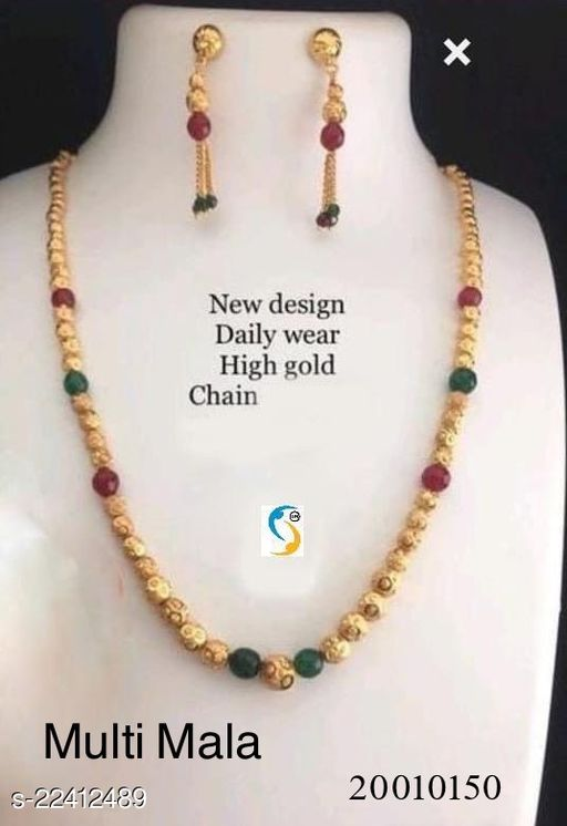 New design multi stone gold plated chain mala with earring.