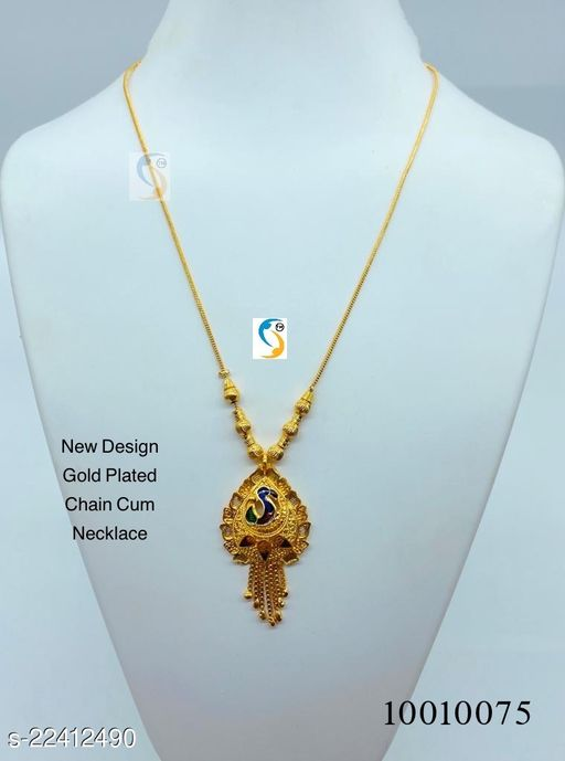 Designer good quality gold plated chain cum necklace.