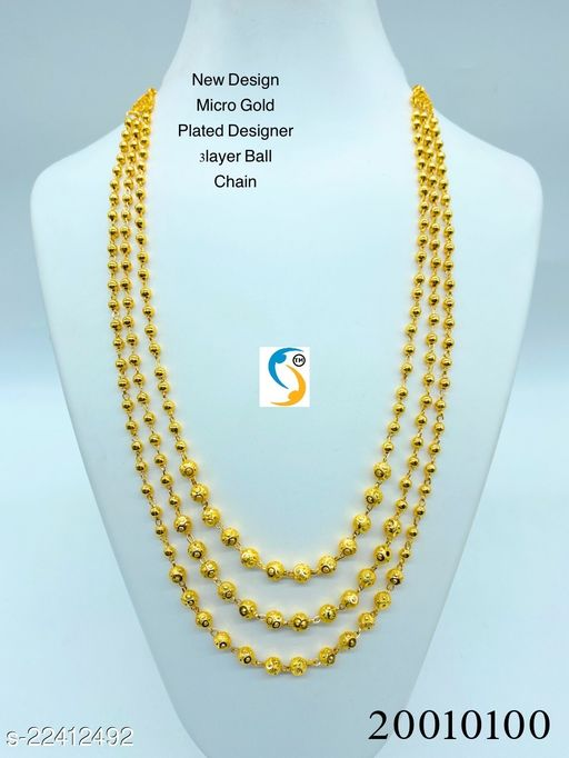 New design premium quality gold plated 3 layer ball chain