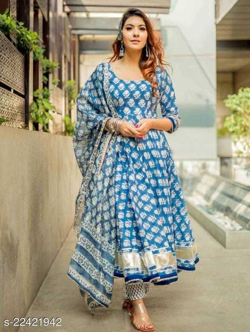 Womens Anarkali Rayon Blue Kurti With Dupatta with Pant Sets