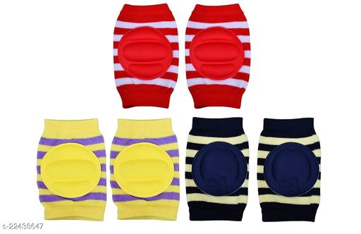 Momscape Baby Knee Pads for Crawling, Anti-Slip Padded Stretchable Elastic Cotton Soft Breathable Comfortable Knee Cap/ Elbow Safety Protector (Set of 3)