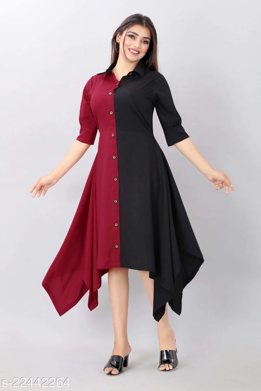 R TAZE Womens Western Dress With Two Colours