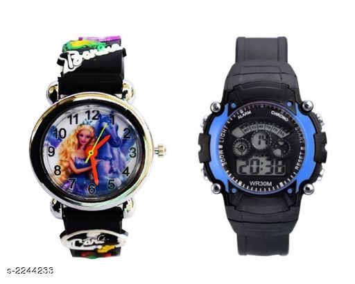 Trendy Plastic & Rubber Digital Kid's Watches (Pack Of 2)
