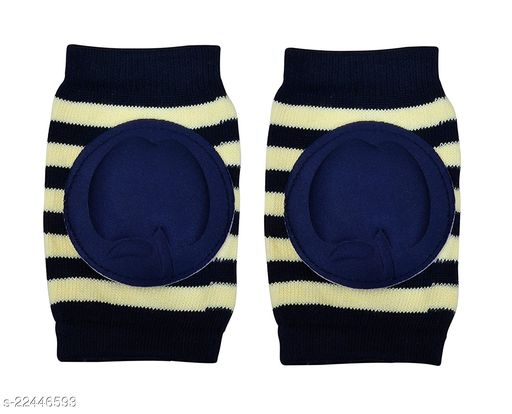 Momscape Baby Knee Pads for Crawling, Anti-Slip Padded Stretchable Elastic Cotton Soft Breathable Comfortable Knee Cap/ Elbow Safety Protector (Navy Blue)