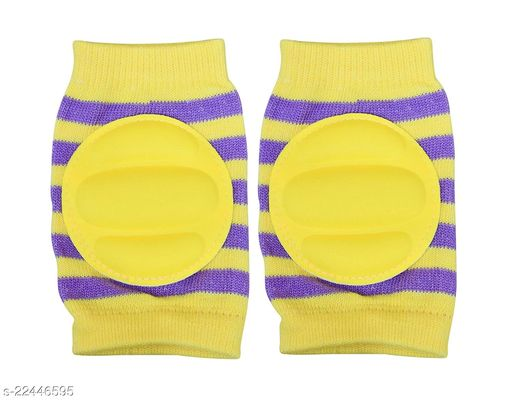 Momscape Baby Knee Pads for Crawling, Anti-Slip Padded Stretchable Elastic Cotton Soft Breathable Comfortable Knee Cap/ Elbow Safety Protector (Yellow)