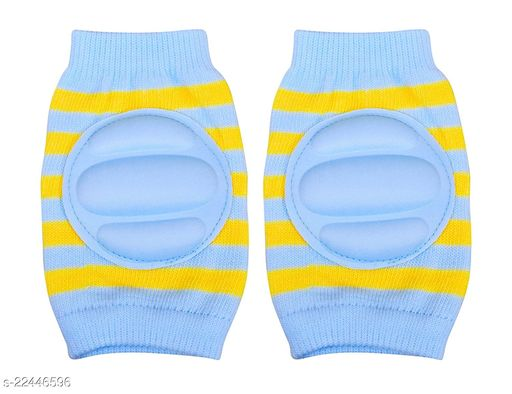 Momscape Baby Knee Pads for Crawling, Anti-Slip Padded Stretchable Elastic Cotton Soft Breathable Comfortable Knee Cap/ Elbow Safety Protector (Blue)