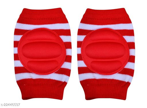 Momscape Baby Knee Pads for Crawling, Anti-Slip Padded Stretchable Elastic Cotton Soft Breathable Comfortable Knee Cap/ Elbow Safety Protector (Red)