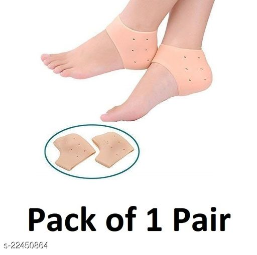 Sument 1 Pair Anti Crack Silicone Half Gel Heel And Foot Protector Moisturizing Socks for Foot Care for Men and Women Pain Relief And Heel Cracks (Beige, Free Size)