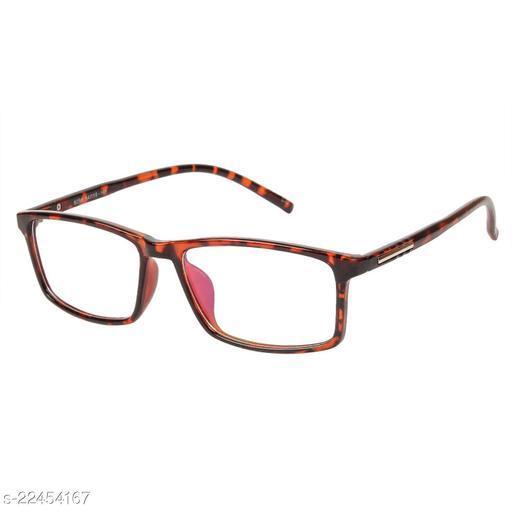 LOF Lepord Anti Reflective Coating Rectangular Unisex Spectacle Frame (LF-6096_2 I55I Transparent Color Lens)