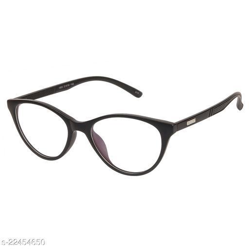 LOF Black Anti Reflective Coating Cat Eye Women Spectacle Frame (LF-1865_2 I50I Transparent Color Lens)