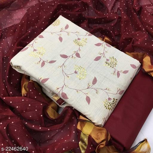 Exclusive Designer Khadi Cotton With Foil Work Dress Materials