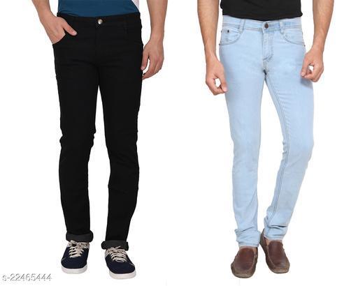 Ansh Fashion Wear Men's Regular Fit Stretchable Denim Jeans Pack of 2