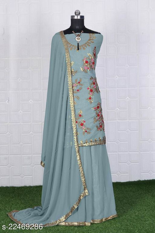 Fancy Embroidery Work Semi Suits With Dupatta