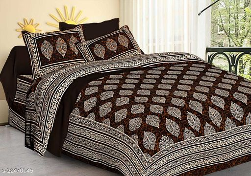 King Size (90x108 INCH) Cotton Bedsheet with 2 Pillow Covers