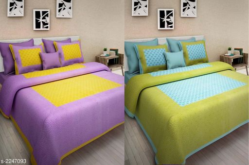 Trendy Cotton Printed Double Bedsheets (Pack Of 2)